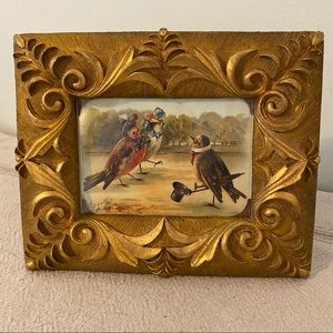 Small Vintage Gold Tone Framed Birds Sweet Art
